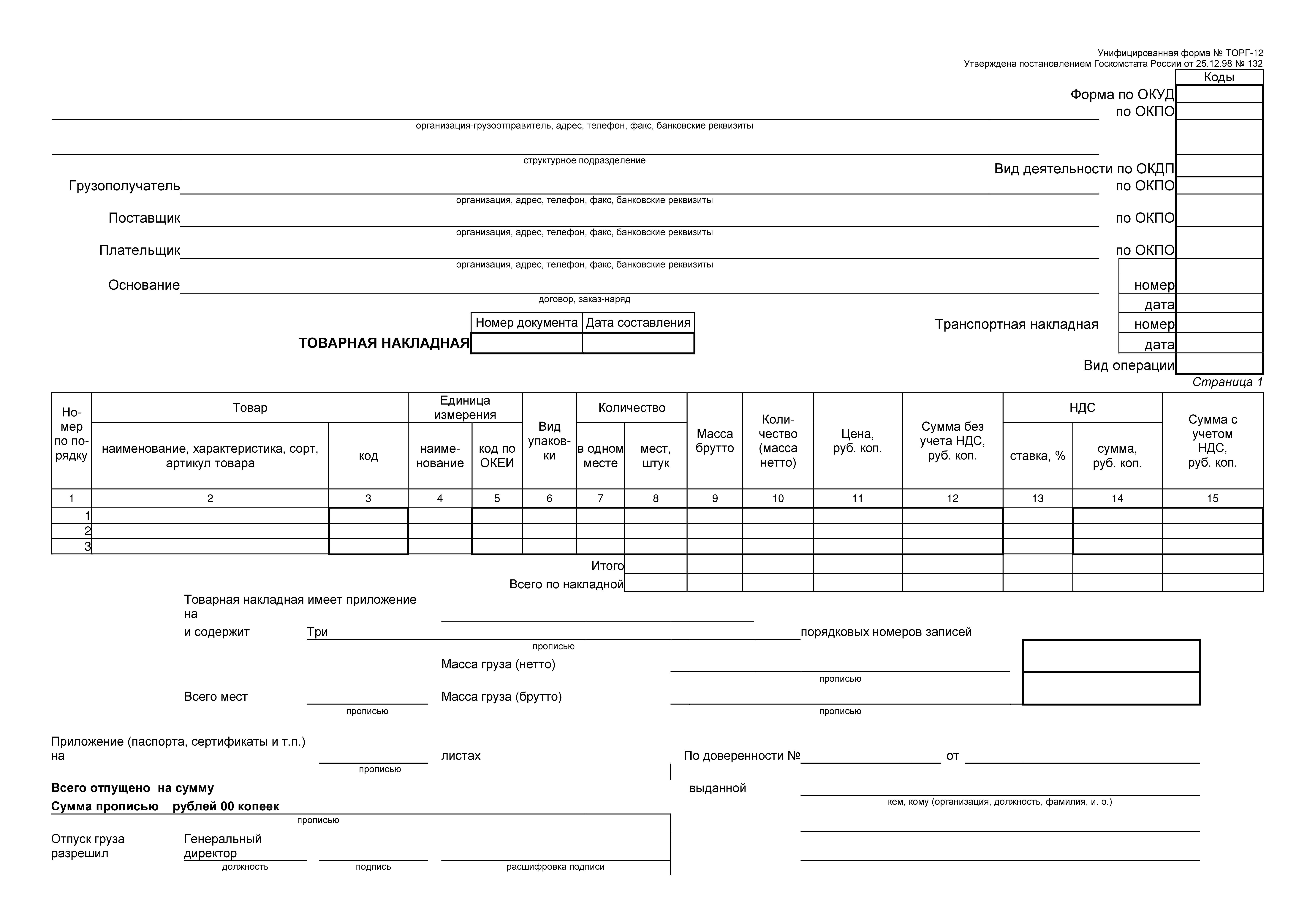 Единая форма счет-фактуры и накладной